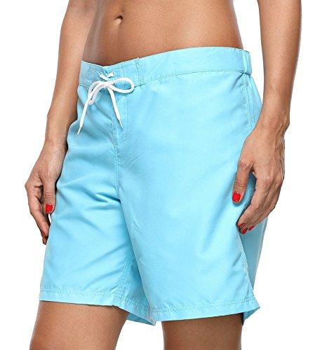 ATTRACO Women's Long Board Short Side Pocket Drawstring Swimwear Shorts Blue Large by ATTRACO (Image #5)
