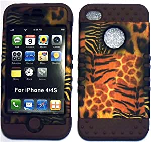 Animal Skin on Brown Silicone Skin for Apple iPhone 4 4S Hybrid 2 in 1 Rubber Cover Hard Case fits Sprint, Verizon, AT&T Wireless