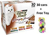 Fancy Feast Gravy Lovers Poultry & Beef Feast Variety Collection Cat Food [Each Box Contains: 10 each: Turkey Feast, Chicken Feast, and Beef Feast] - 4 Box + Freebie