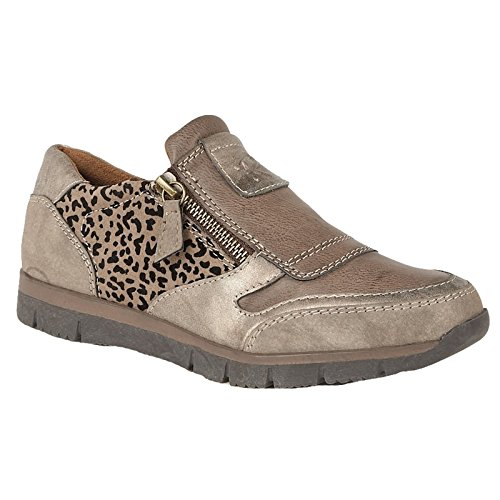 LADIES LOTUS RUTO BRONZE LEOPARD PRINT SIDE ZIP CASUAL SHOES 50722 SIZES 4 - 7-UK 5 (EU 38)