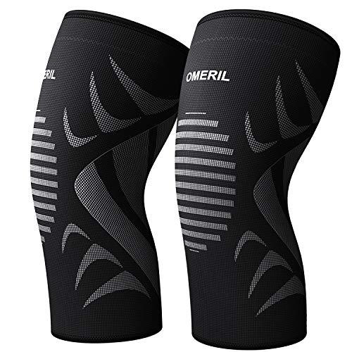 OMERIL Knee Brace, 2 Packs Knee Compression Sleeve.4D Flexible Breathable Knitting and Double Anti-Slip Silicone Knee Support for Gym,Workout,Sports,Meniscus Tear,Joint Pain Relief and Injury Recovery
