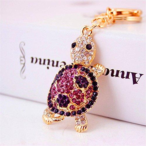 JewelBeauty Rhinestone Crystal Tortoise Turtle Keychains Handbag Key Holder Keyring for Car Purse Bag Charm Pendant (Purple)