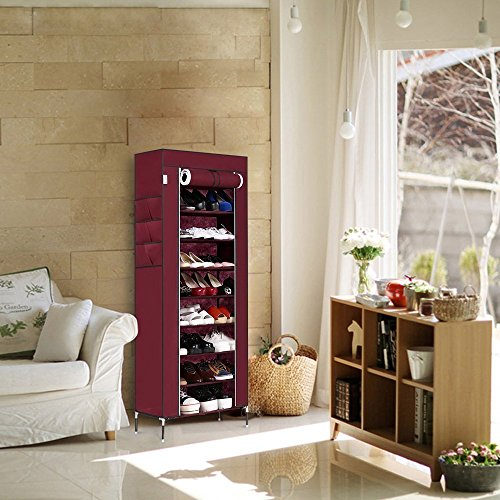 Meflying 10 Tier Shoe Rack,Non-Woven Fabric Shoe Stand Free Standing Shoe Holder Organizer Storage With 3 External Side Pockets 27 Pairs Capacity (US STOCK) (Wine Red) Review