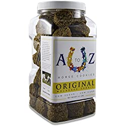 Horse Cookie Treat by A to Z Horse Cookies | Original Flavor, Low Carb Low Sugar Softer Cookie, Organic Ingredients, Great For All Horses, Excellent For Those With Metabolic Conditions, 4.5 lbs Jar