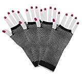 Penta Angel 2 Pairs Black Nylon Long Fingerless Fishnet Gloves Elastic Stretch Funky Retro Mesh Wrist Gloves for Women Girls Kids 80s Theme Party Halloween Costume (Long-Black)