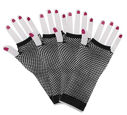 (PENTA ANGEL 2 Pairs Black Nylon Long Fingerless Fishnet Gloves Wrist Stretch Mesh Gloves for 80's Theme Party Women Girls Costume Accessories)
