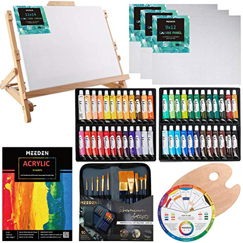 MEEDEN 66-Piece Acrylic Painting Set with Beech Wood Table Easel, 48×22ML Acrylic Paint Set and All The Additional Supplies, Perfect Holiday Gifts for Beginning Artists, Students and Kids