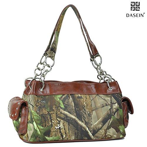 Realtree ® Women's Camouflage Studded Leather Like Shoulder Bag Handbag w/ Chain Handles -Camouflage/Brown (Reg's Surprise Christmas)