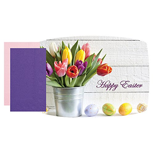 ster Tulips Combo Pack with Coordinating Decorator Dinner Napkins and Napkin Bands, 9-3/4