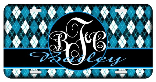 Argyle Turquoise Personalized Monogrammed License Plate ()