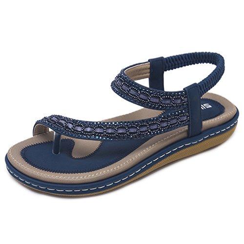 Ladies Rhinestones Sandals - CARETOO Ladies Flat Sandals Shoes, Women Fashion T Strap Summer Flip Flops Sandal, Rhinestone Bling Backstrap Beach Sandal