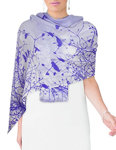 Dahlia Women's 100% Merino Wool Pashmina Scarf - Flying Bird Tree Branch Purple