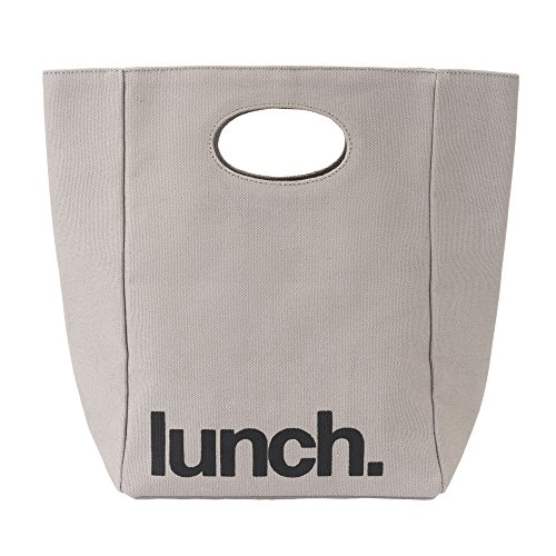 Natural Lunch Box - Fluf Canvas Lunch Bag | Lunch Box for Men, Women, & Kids | Organic Cotton Meal Tote with Built-in Handle | Grey Lunch