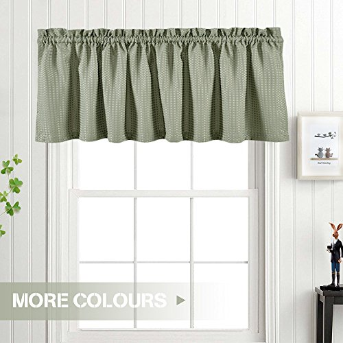 ... (SAGE GREEN) · Waffle Weave Textured Valance For Kitchen Water Proof  Window Curtains (60 Inch