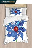 shirlyhome Hotel Luxury Bed Sheet Set-Sale Pinwheel with Daisies Floral Patterns Children Childhood Enjoyment Blue White r - X-Long Twin
