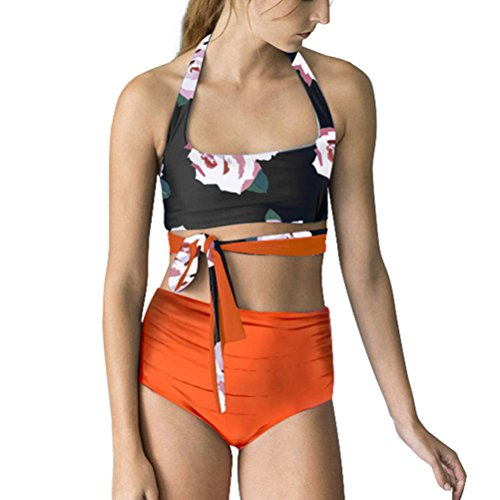 High Waisted Swimsuit Women, Two Piece Bathing Suit Reversible Bikini Set Ladies Swimwear Orange