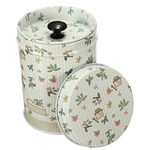 Cylinder Double Cover Tea Canister Container Food Caddy Storage Jars Tin Box - Beige, 9x6.5cm (Tea Container Box compare prices)