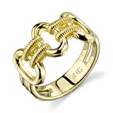CHARLIZE GADBOIS 925 Sterling Silver Signature Buckle Chain Ring for Women, Yellow Gold Plated, Size 6