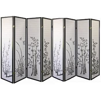 Amazoncom 8 Panel Bamboo Floral Room Divider Black by SQUARE