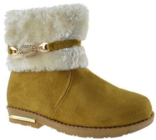 Bot 03-08KM Girls Rhinestone Strap Comfort Ankle Boots Camel 9