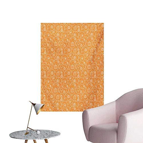 Anzhutwelve Harvest Photographic Wallpaper Pattern with Pumpkin Leaves and Swirls on Orange Backdrop Halloween InspiredOrange White W32 xL36 Funny Poster]()
