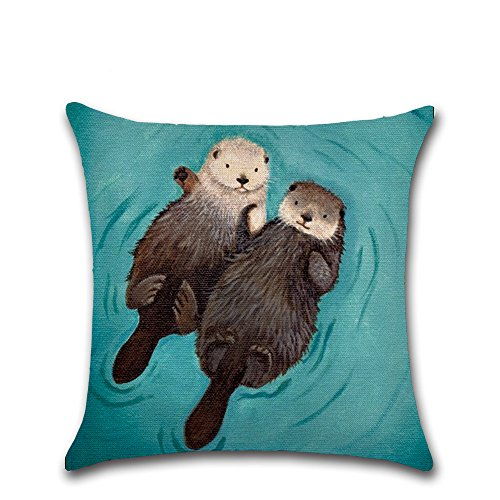 "oFloral Otter Throw Pillow Case Cotton Linen Cushion Cover for Home Sofa Couch Chair Car Living Room Bedroom Decorative 18""X18""(Two Sides)"