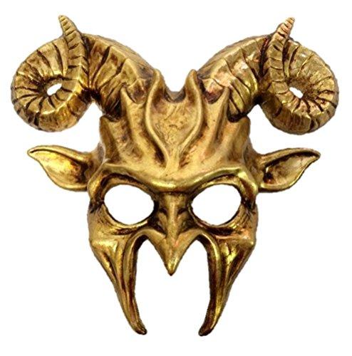 Gold Goat Half Mask Horn Adult Mens Animal Ram Venetian Costume -