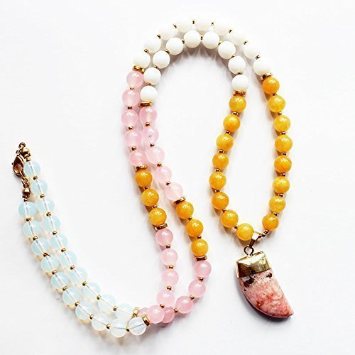 Pastel Pink Spring Long Gemstone Beaded Necklace Pave Tusk Pendant - Pave Candy