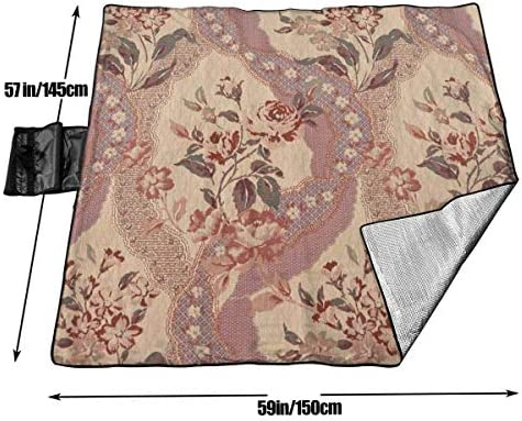 Suo Long Couverture de Pique-Nique Tapis de Pique-Nique à imprimé Floral Vintage Pliant Le Tapis de Camping Portable