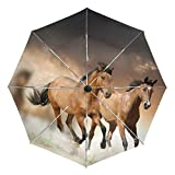 BAIHUISHOP Africa Running Horse Windproof Umbrellas Auto Open Close 3 Folding Golf Strong Durable Compact Travel Umbrella Uv Protection Portable Lightweight Easy Carrying and Slip-Proof Handle