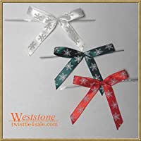 Special! - 75pcs Snow Flake (3 Colors) Pre-tied Ribbon Bows for Cello Bag in Christmas Party