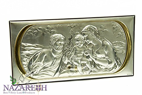 Amazing Holy Family Sterling Silver 925 & Gold Icon Plaque Handmade Jerusalem by Holy Land Gifts