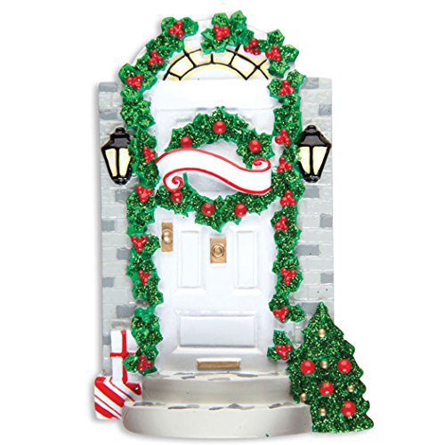 Personalized Door Welcome Mat Christmas Tree Ornament 2019 - Garnished White Elegant New Apartment Green Glitter Wreath Ribbon 1st Front First Office Neighbor Room Gift Year - Free Customization -