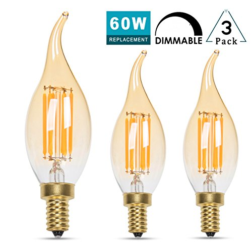 Panledo LED Filament Candelabra Bulb 6W Dimmable, 60W Equivalent, Vintage Classic Edison style, Amber Glass Light bulbs, Gold Tint Flame Tip, E12 Base, Soft White 2700K, Pack of 3 (Amber Tip)