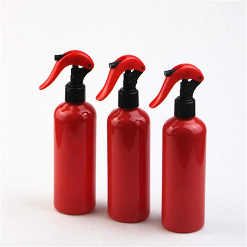 Botella de plástico PET de hombro redondo de 300 ml.-Botella roja + boquilla negra roja_1 paquete