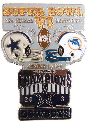 Super Bowl VI Oversized Commemorative Pin by Pro Specialties Group