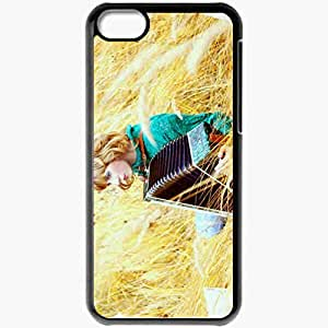 Personalized iPhone 5C Cell phone Case/Cover Skin Accordion Field Grass Music Black