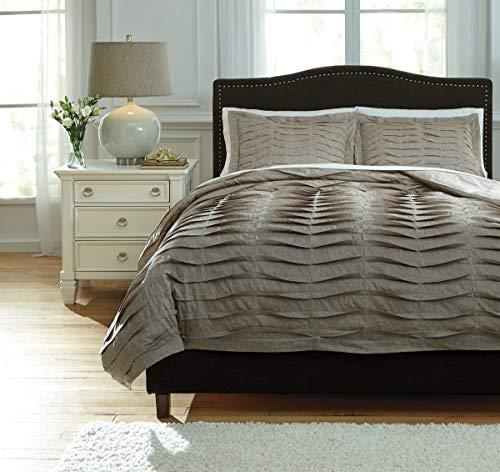 Ashley Furniture Queen Bedding - Ashley Furniture Signature Design - Voltos Duvet Cover Set - Includes Duvet & 2 Shams - Queen Size - Brown