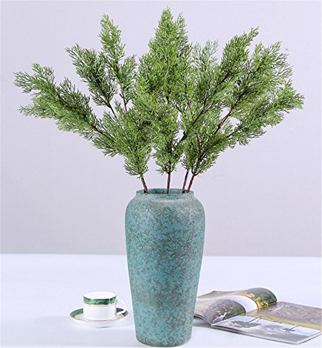 - Skyseen 3Pcs Artificial Pine Cypress Fake Plastic Evergreen Plant Tree Branch Green Christmas Wedding Home Office Furniture Decor