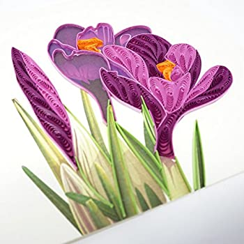 Amazon wow crocus flower bulbs quilling greeting card for wow crocus flower bulbs quilling greeting card for all occasions birthday love anniversary m4hsunfo