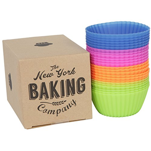 The New York Baking Company | 24-pack Reusable Silicone Baking Cups / Cupcake Liners (Baking Cups Cupcake Bakeware)