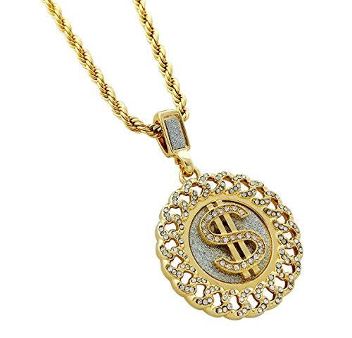 - Exo Jewel Iced Cuban Link Framed Medallion Dollar Symbol Pendant Necklace with 24