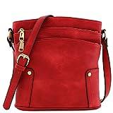 Triple Zip Pocket Medium Crossbody Bag Red
