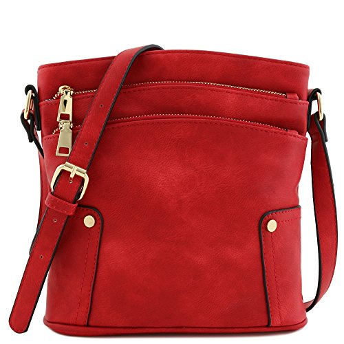 Triple Zip Pocket Medium Crossbody Bag (Red)