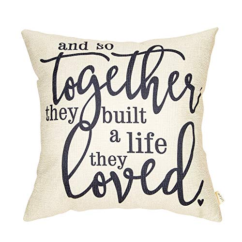 Fjfz Rustic and so Together They Built A Life They Loved Farmhouse Quote Wedding Sign Cotton Linen Home Decorative Throw Pillow Case Cushion Cover with Words for Sofa Couch, 18 x 18