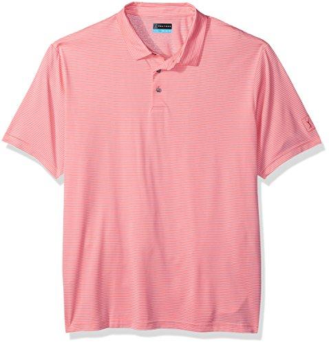 PGA TOUR Men's Short Sleeve Feeder Striped Polo, Flamingo Pink, M ()