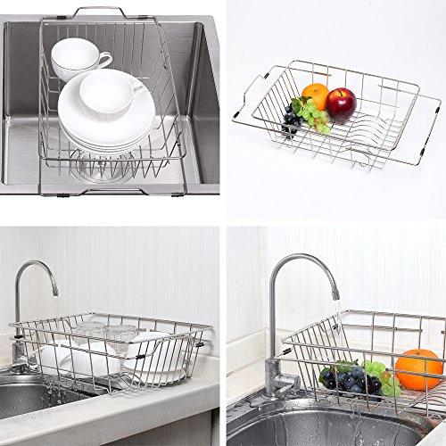 NEX Dish Drainer Rack Stainless Steel Dish Basket Adjustable Over the Sink Rustproof Storage Utensil for Kitchen (Stainless Steel Kitchen Basket)
