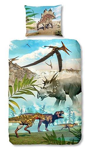Good Morning 5036 P 135cm Bettwasche Mit Dinos 100 Prozent Baumwolle Mehrfarbig 200 X 135 X 0 5 Cm