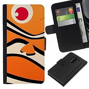 BearCase / Cuero de la tarjeta la carpeta del tirón Smartphone Slots Protección Holder /// LG G3 /// Pez Tigre de dibujos animados Océano Niños