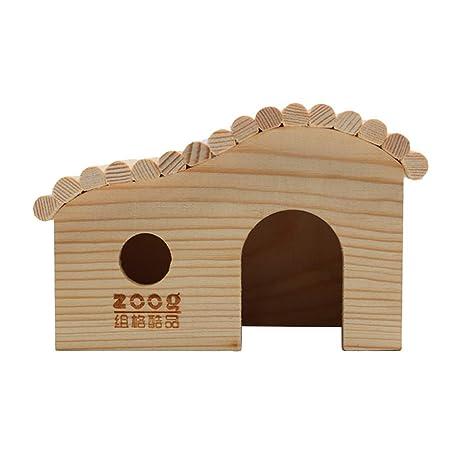 POPETPOP Casa de hámster Madera, caseta para esconderse, caseta de cabaña, Juguete para